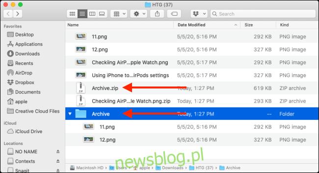 Kliknij dwukrotnie plik Zip, aby rozpakować plik lub folder na komputerze Mac