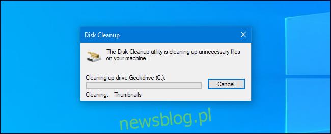 Proces czyszczenia dysku w systemie Windows 10