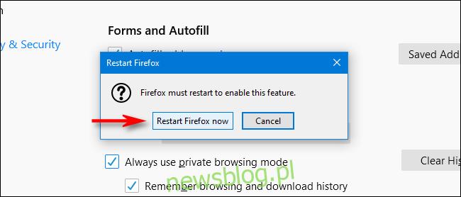Kliknij Uruchom ponownie przeglądarkę Firefox teraz w przeglądarce Firefox