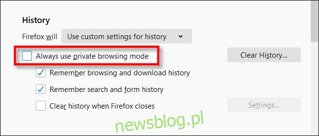 Zaznacz zawsze używaj trybu przeglądania prywatnego w przeglądarce Firefox