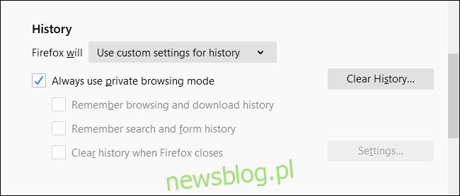 Zawsze używaj trybu przeglądania prywatnego zaznaczonego w przeglądarce Firefox