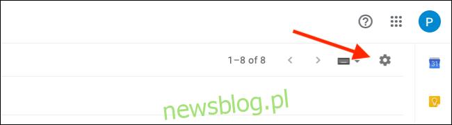 Kliknij ikonę koła zębatego w Gmailu