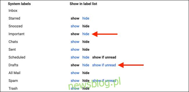 Ukryj etykiety systemowe, aby wyczyścić pasek boczny Gmaila