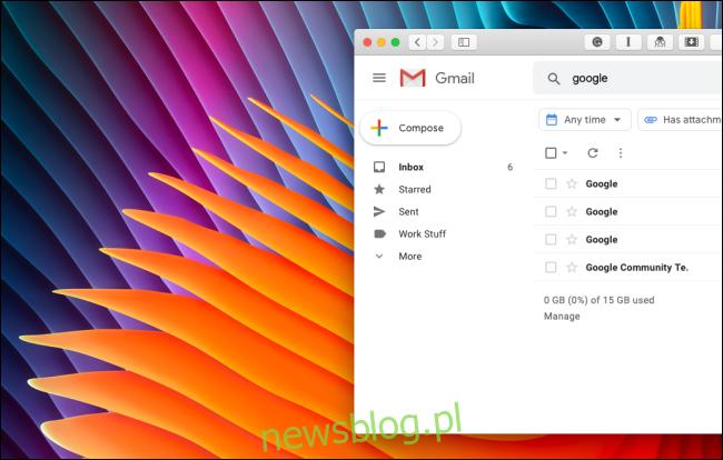 Uporządkowano pasek boczny Gmaila bez sekcji Google Hangouts lub Google Meet