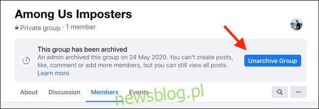 Kliknij Unarchive Group, aby przywrócić grupę na Facebooku
