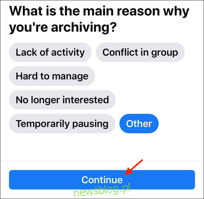 Stuknij Kontynuuj na stronie Archiwum