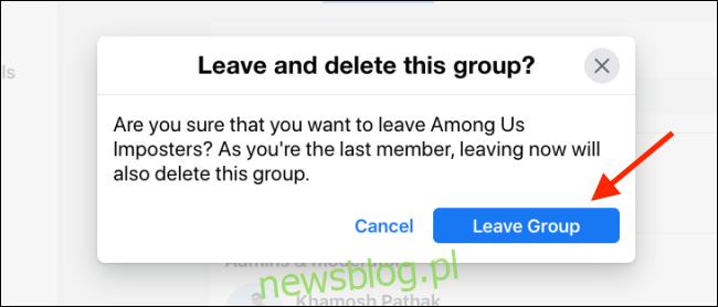 Kliknij Opuść grupę, aby usunąć grupę na Facebooku
