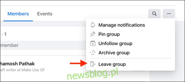 Kliknij opcję Opuść grupę w menu grupy na Facebooku