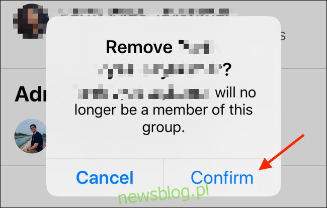 Kliknij Potwierdź, aby usunąć użytkownika