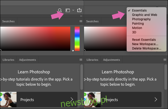 Menu Obszary robocze w programie Photoshop.