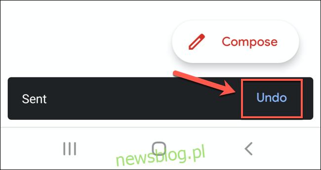 Po wysłaniu wiadomości e-mail w aplikacji Gmail stuknij