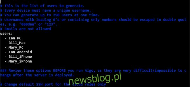 Plik konfiguracyjny Algo w oknie terminala.