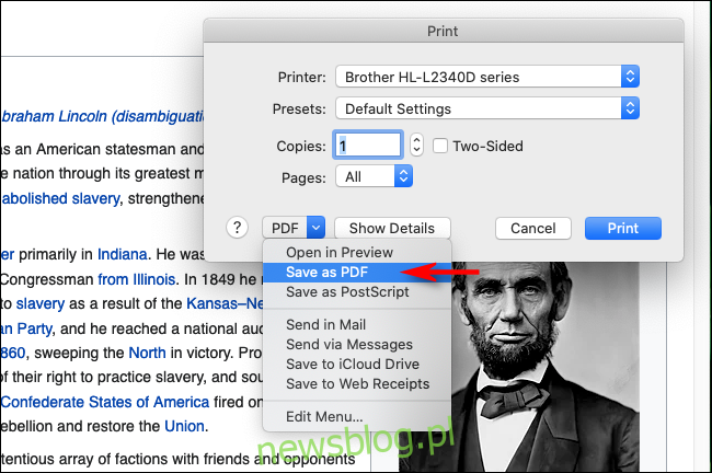 Wybierz Zapisz jako PDF w Firefoksie na Macu