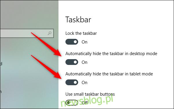 automatyczne ukrywanie paska zadań w trybie pulpitu i tabeli