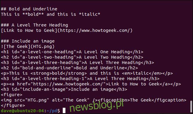 HTML wygenerowany przez pandoc w oknie terminala.