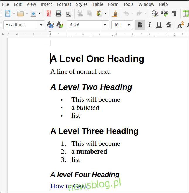 Dokument ODT wyrenderowany po przecenie i otwarty w LibreOffice Writer.