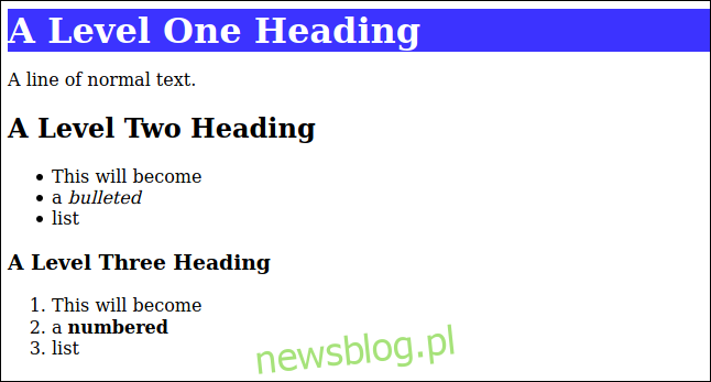 HTML renderowany od markdown ze stylem CSS zastosowanym do nagłówka poziomu pierwszego w oknie przeglądarki
