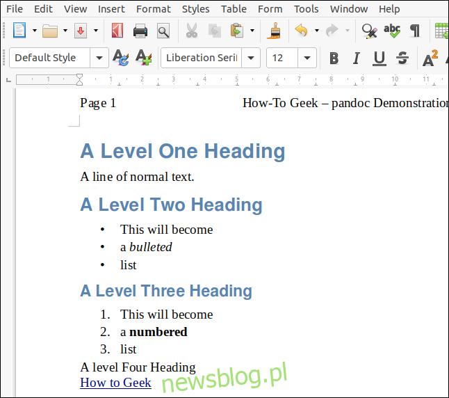 Plik ODT wyrenderowany z przeceny z dokumentem LibreOffice działającym jako arkusz stylów w oknie LibreOffice Writer.