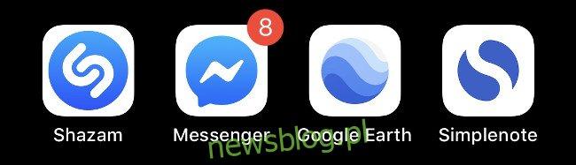 Cztery niebieskie ikony aplikacji iOS.