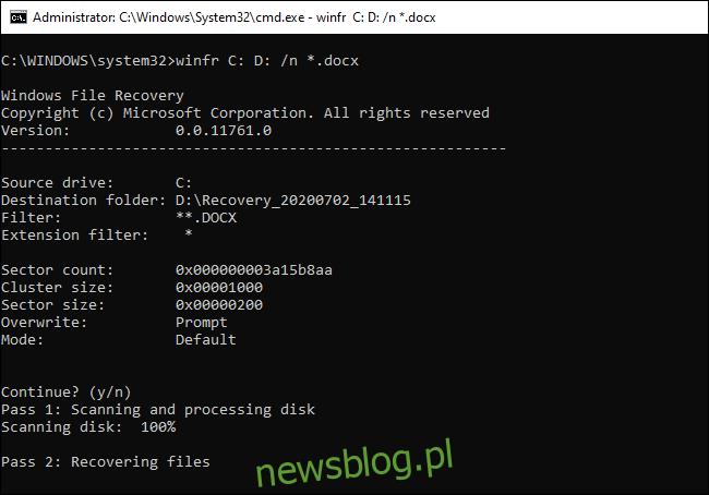 Odzyskiwanie plików w domyślnym trybie Winfr.