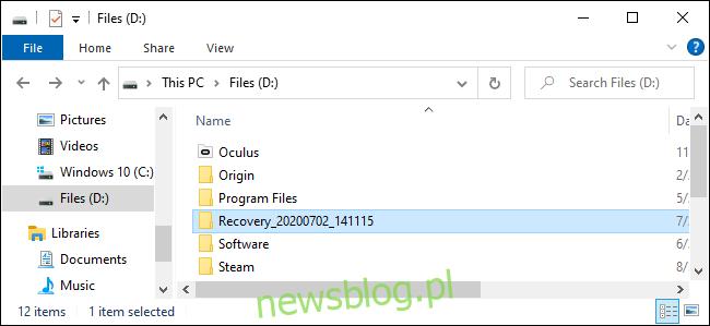 Gdzie Odzyskiwanie plików systemu Windows umieszcza odzyskane pliki.