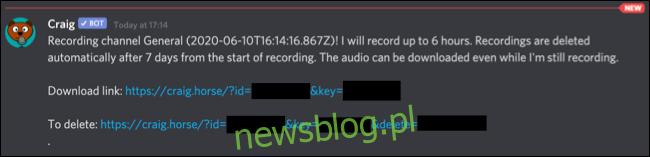 Prywatna wiadomość od bota Craiga Discorda, z linkami do pobierania lub usuwania nagrań