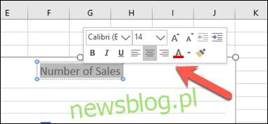 Wyskakujące menu formatowania pola tekstowego w programie Excel