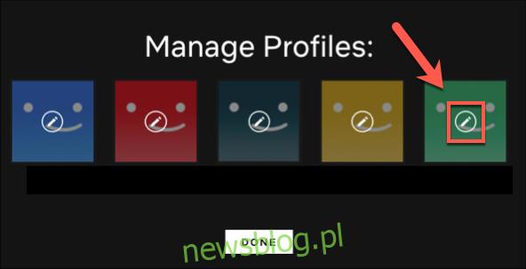 Kliknij profil, który chcesz edytować.