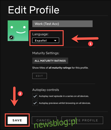 Wybierz język, na który chcesz zmienić swój profil, a następnie kliknij