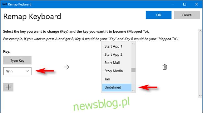 W PowerToys wybierz klawisz Win i Unassigned w Menedżerze klawiatury w systemie Windows 10