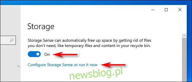 Kliknij przełącznik, aby włączyć funkcję Storage Sense w ustawieniach systemu Windows 10