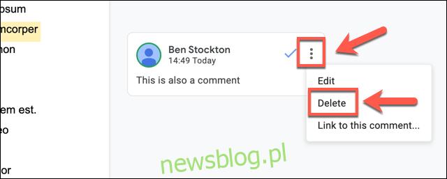 Kliknij ikonę menu z trzema kropkami obok komentarza, a następnie kliknij