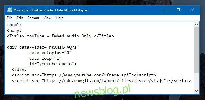 youtube-audio-embed