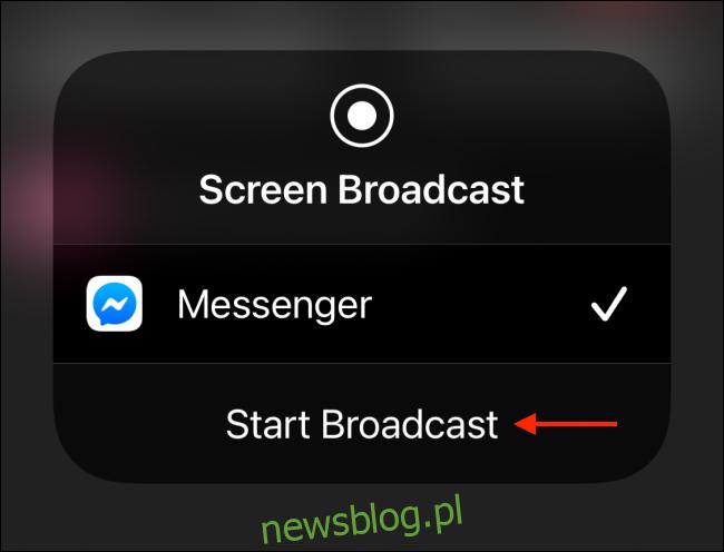 Stuknij Rozpocznij transmisję na iPhonie