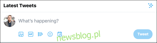 Kliknij pole tweeta znajdujące się u góry strony