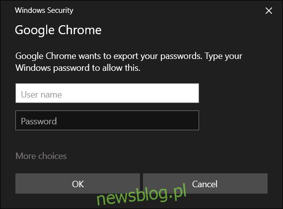 Wprowadź nazwę użytkownika i hasło do swojego komputera, aby kontynuować