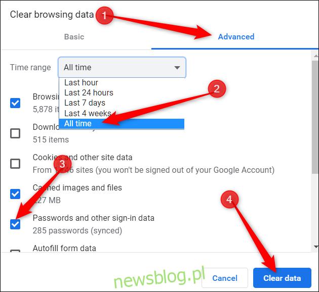Kliknij kartę zaawansowane, wybierz z menu cały czas, zaznacz opcję hasła, a następnie kliknij Wyczyść dane