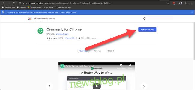 """Rozszerzenie Chrome Web Gramarly ze strzałką wskazującą przycisk """"dodaj do chrome"""""""