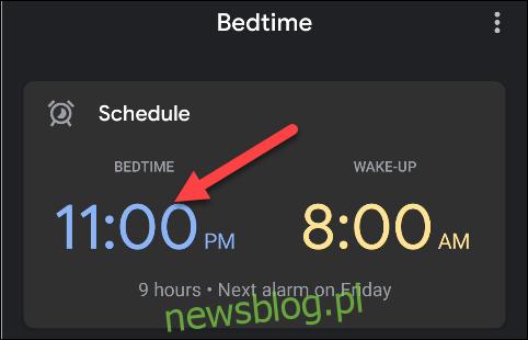 Kliknij godzinę ustawioną jako pora snu.