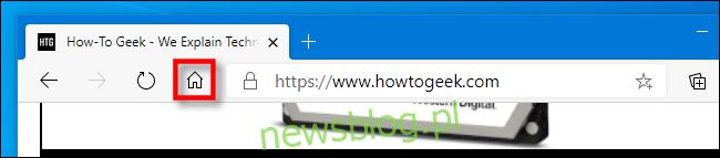 Ikona Strona główna na pasku narzędzi Edge.