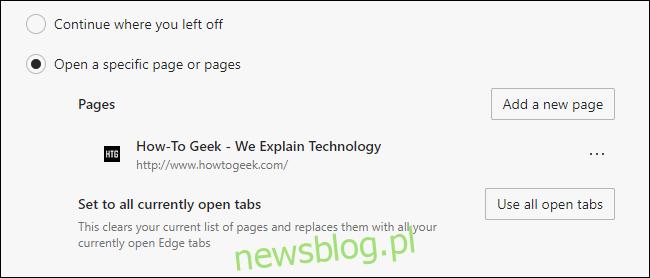 Niestandardowa strona startowa dodana do Microsoft Edge.