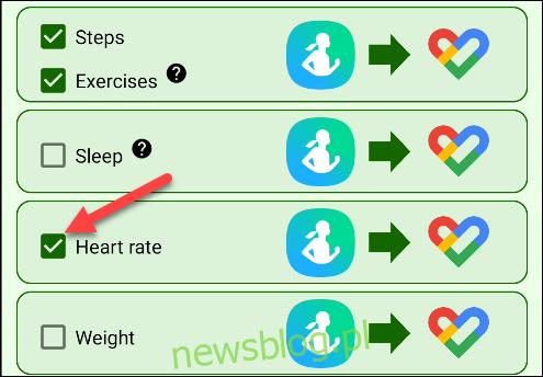 Wybierz dane fitness, które chcesz zsynchronizować.