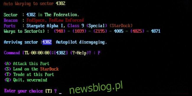 Scena tekstowa z gry drzwiowej BBS