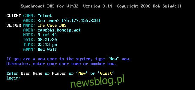 Ekran logowania Cave BBS w oknie SyncTERM.