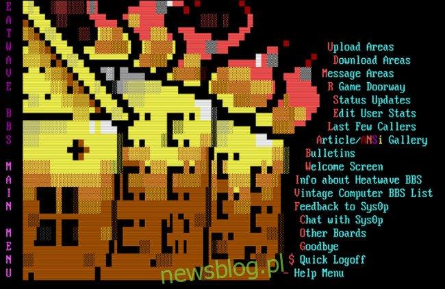 Główne menu Heatwave BBS.