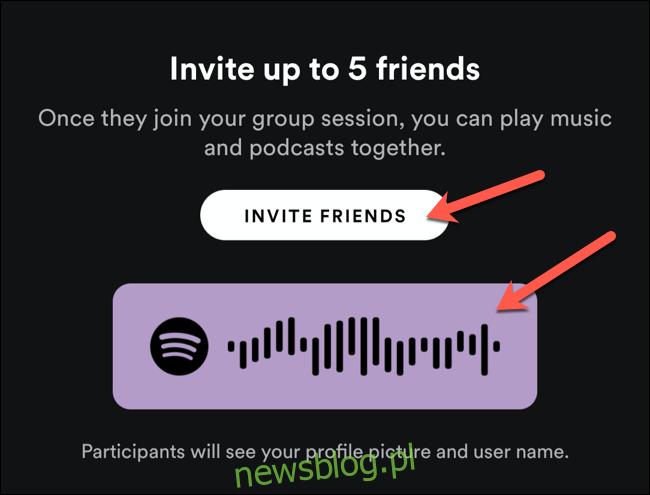 Użyj kodu udostępniania, aby zaprosić pobliskich użytkowników do sesji grupowej Spotify lub dotknij Zaproś znajomych, aby udostępnić go innym użytkownikom