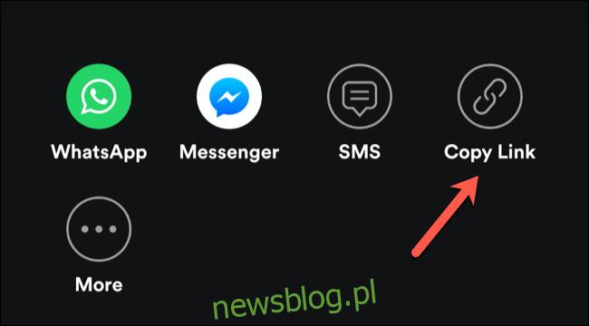 Stuknij opcję Kopiuj łącze, aby udostępnić łącze z zaproszeniem do sesji grupowej Spotify
