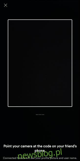 Ekran skanowania kodu udostępniania grupowego Spotify, umożliwiający zeskanowanie kodu zaproszenia na sesję grupową w pobliżu.