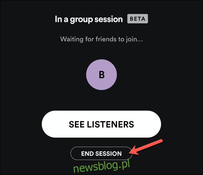 Dotknij opcji Zakończ sesję, aby zakończyć sesję grupową Spotify.