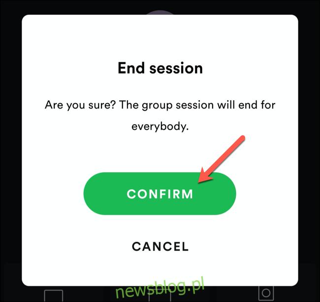 Stuknij Potwierdź, aby potwierdzić zakończenie sesji grupowej Spotify.